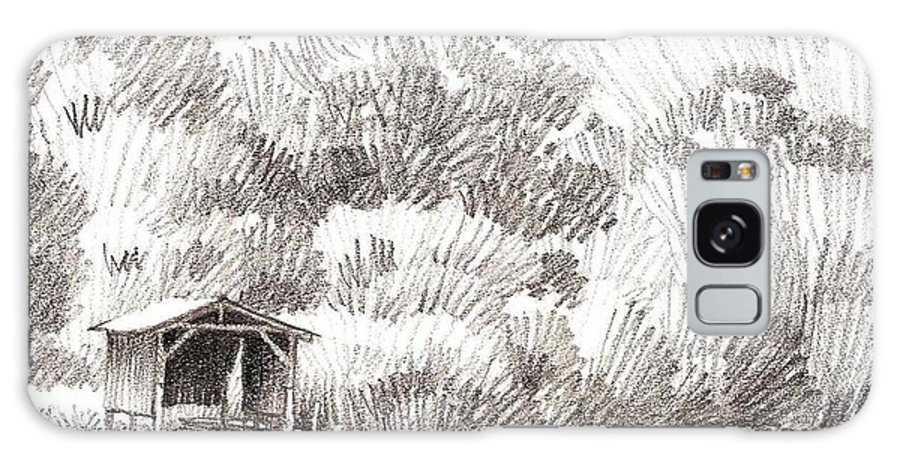 Boathouse Galaxy Case featuring the drawing Boathouse by Kevin Lawrence Leveque