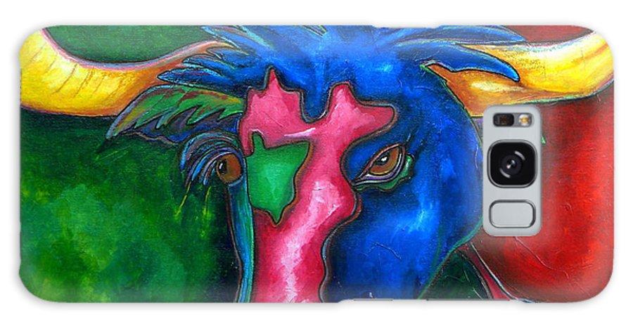 Longhorns Galaxy S8 Case featuring the painting Boerne Longhorn by Patti Schermerhorn