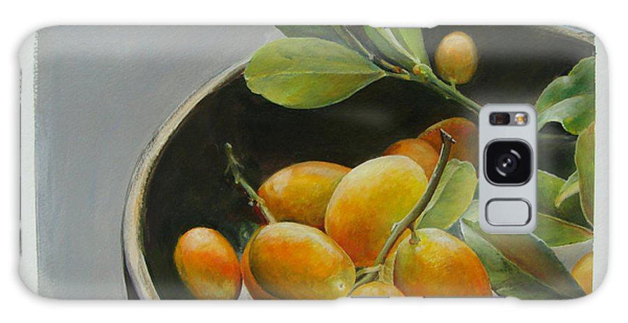 Floral Painting Galaxy Case featuring the painting Bol De Kumquats by Muriel Dolemieux