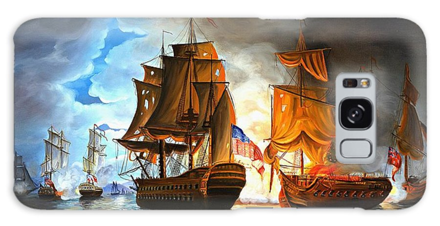 Naval Battle Galaxy S8 Case featuring the painting Bonhomme Richard engaging The Serapis in Battle by Paul Walsh