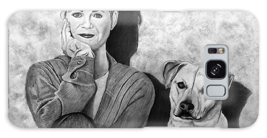 Bonnie Hunt And Charlie Galaxy S8 Case featuring the drawing Bonnie Hunt And Charlie by Peter Piatt