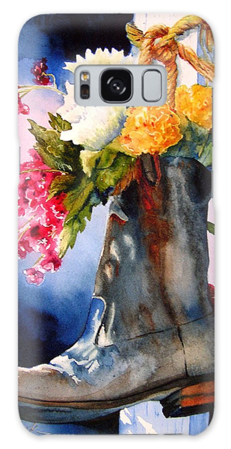 Cowboy Galaxy Case featuring the painting Boot Bouquet by Karen Stark