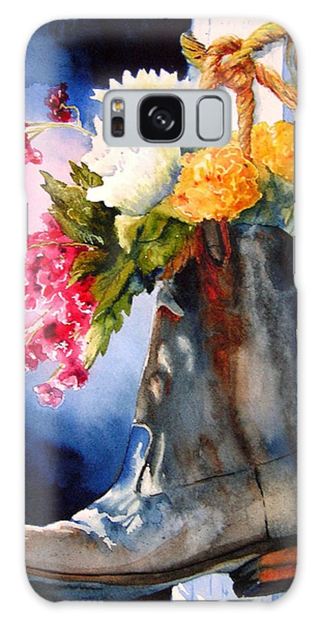 Cowboy Galaxy S8 Case featuring the painting Boot Bouquet by Karen Stark
