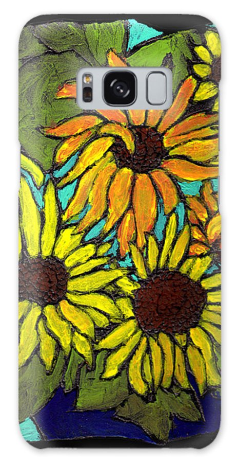 Flowers Galaxy Case featuring the painting Boquet Of Sunshine by Wayne Potrafka