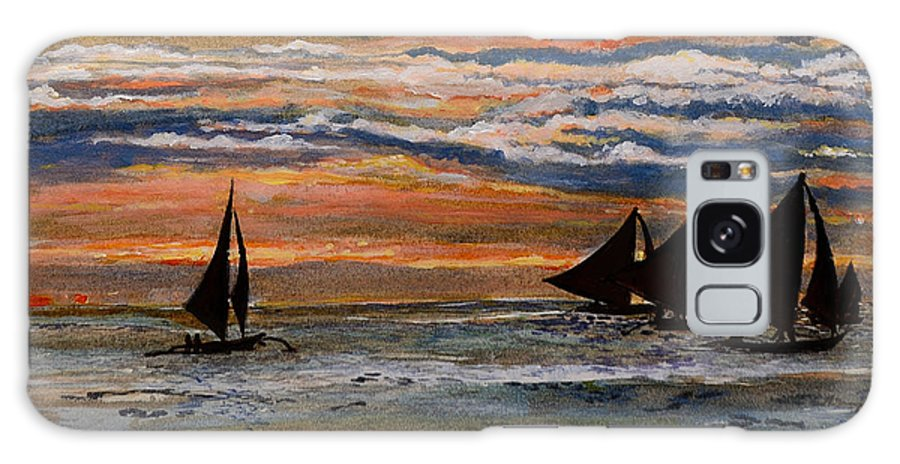 Seascape Galaxy S8 Case featuring the painting Boracay Sunset by Richard Garingalao