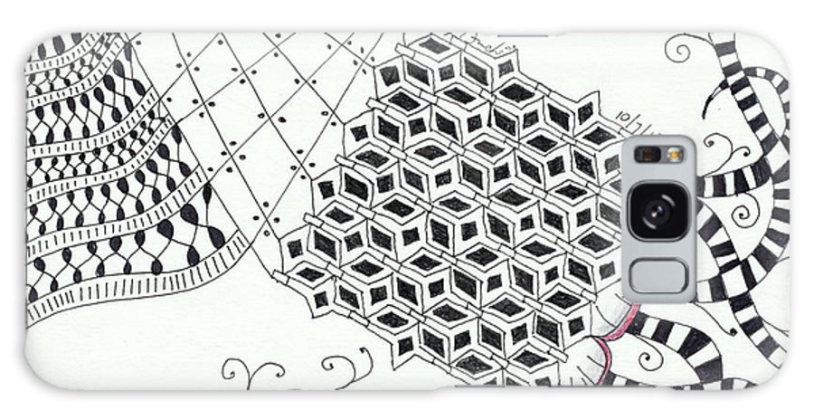 Zentangle Galaxy S8 Case featuring the drawing Bordered by Bev Donohoe