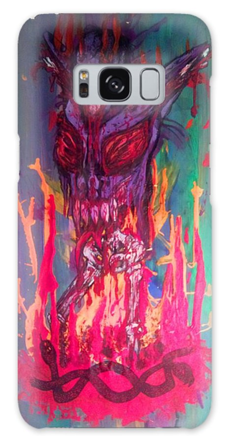 Demon Galaxy S8 Case featuring the drawing Born Of Fire by Sam Hane