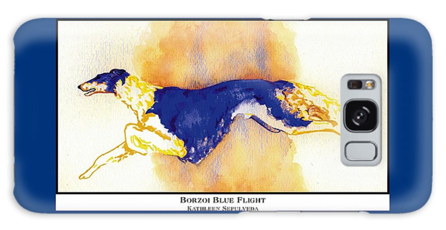 Borzoi Galaxy S8 Case featuring the digital art Borzoi Blue Flight by Kathleen Sepulveda