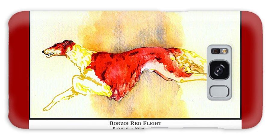 Borzoi Galaxy S8 Case featuring the digital art Borzoi Red Flight by Kathleen Sepulveda