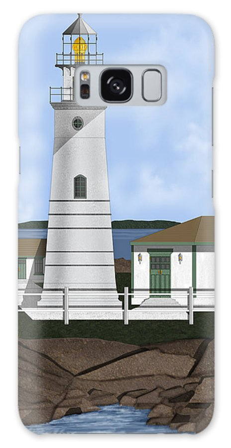 Lighthouse Galaxy Case featuring the painting Boston Harbor Lighthouse On Brewster Island by Anne Norskog