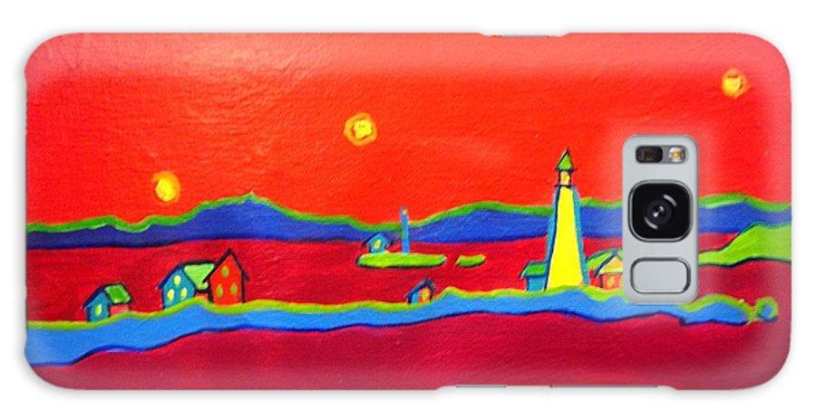Seascape Galaxy Case featuring the painting Boston Harbor Lights by Debra Bretton Robinson