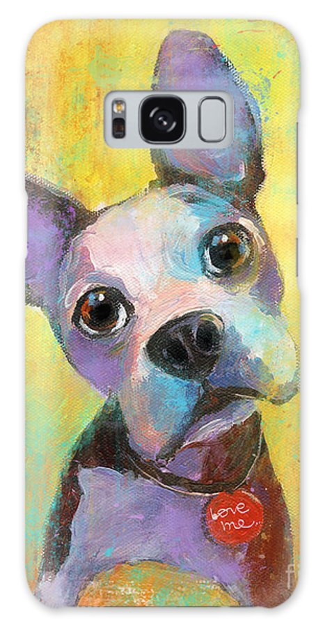 Boston Terrier Galaxy S8 Case featuring the painting Boston Terrier Puppy Dog Painting Print by Svetlana Novikova