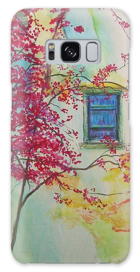Bouganvilla Galaxy S8 Case featuring the painting Bouganvilla And Blue Shutter by Lizzy Forrester