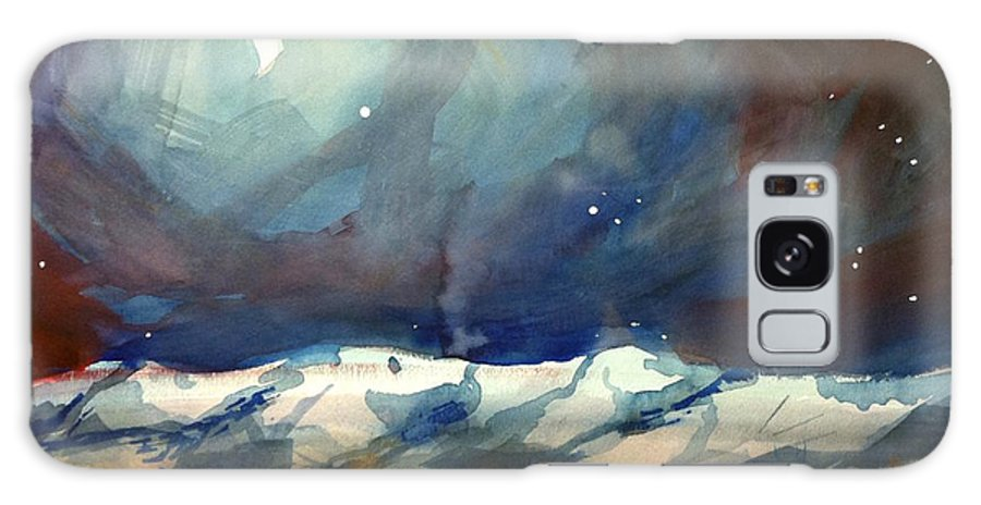 Colorado Winter Rocky Mountains Snow Boulder Galaxy S8 Case featuring the painting Boulder Winter Night by Ugljesa Janjic