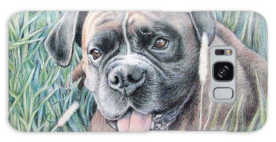 Dog Galaxy Case featuring the drawing Boxer Yosi by Nicole Zeug