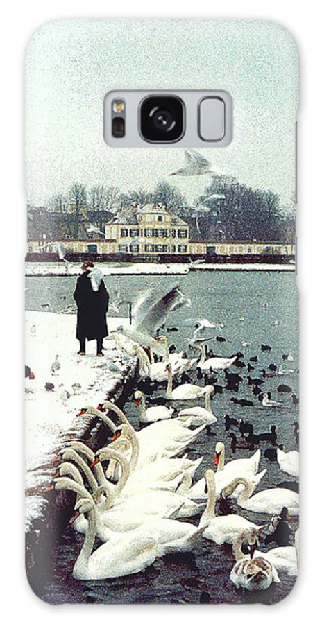 Swans Galaxy S8 Case featuring the photograph Boy Feeding Swans- Germany by Nancy Mueller