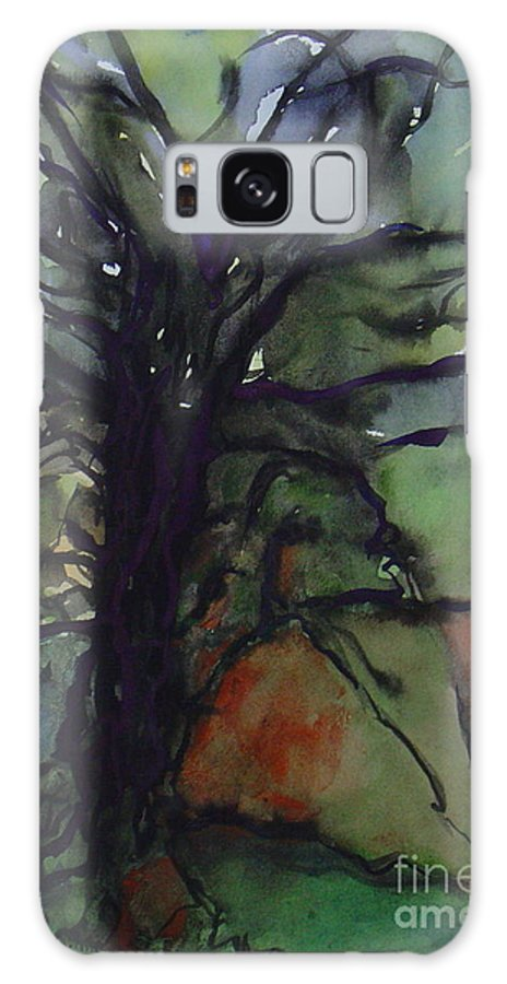 Tree Landscape Abstract Watercolor Original Blue Green Galaxy Case featuring the painting Branching by Leila Atkinson