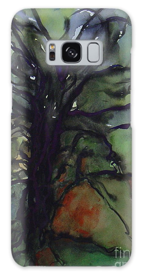 Tree Landscape Abstract Watercolor Original Blue Green Galaxy S8 Case featuring the painting Branching by Leila Atkinson