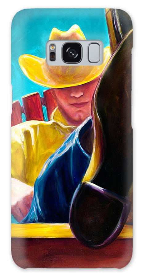 Western Galaxy S8 Case featuring the painting Break Time by Shannon Grissom