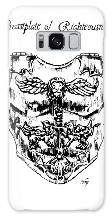 Breastplate Galaxy Case featuring the drawing Breastplate Of Righteousness by Maryn Crawford