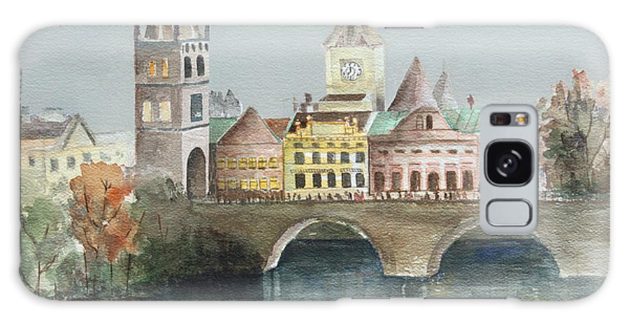 Bridge Galaxy S8 Case featuring the painting Bridge Over The Lake by Arline Wagner