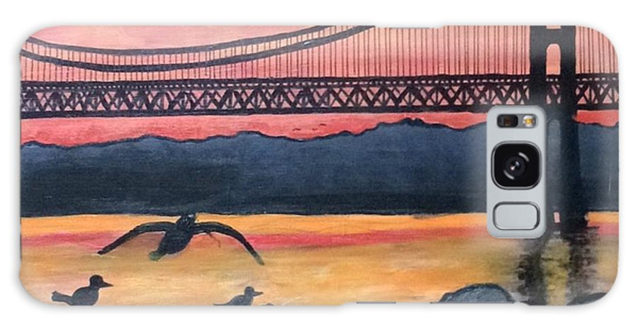 Bridge Galaxy S8 Case featuring the painting Bridge Silhouette by Brandon Miller