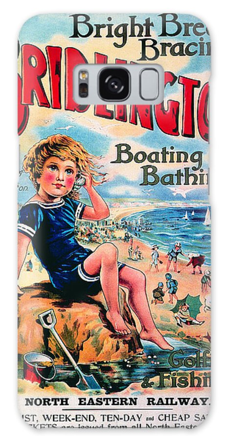 Bridlington Galaxy S8 Case featuring the mixed media Bridlington, England - Retro Travel Advertising Poster - Vintage Poster - Little Boy On The Beach by Studio Grafiikka
