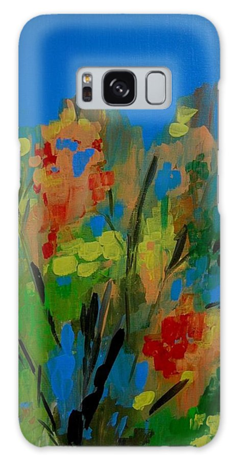 Nature Galaxy S8 Case featuring the painting Bright Flowers On Blue by Judy Swerlick