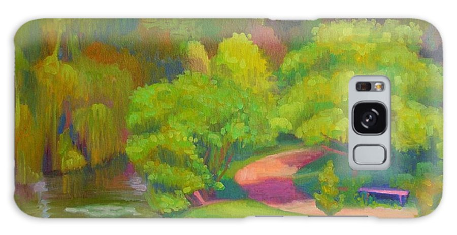 Landscape Galaxy Case featuring the painting Bright Hazy Day Chicago Botanical Gardens by David Dozier