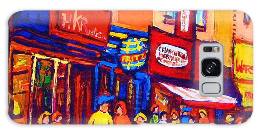 Schwartz's Hebrew Deli Galaxy S8 Case featuring the painting Bright Lights On The Main by Carole Spandau