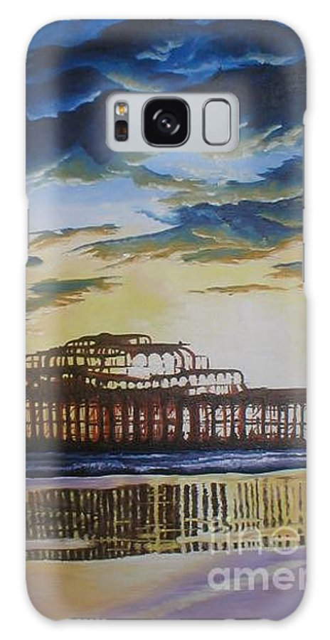 Brighton West Pier Derelict Victorian Sad Beach Sand Sunset Galaxy S8 Case featuring the painting Brighton West Pier by Pauline Sharp