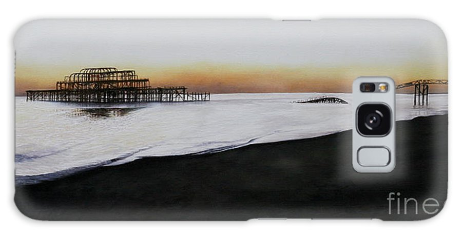 Oil Galaxy S8 Case featuring the painting Brighton West Pier-tranquil Sunset by Pauline Sharp