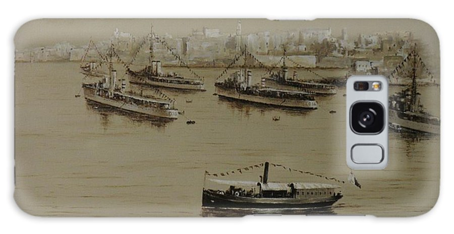 Malta 1940 Painting. Acrylic Painting. Acrylic On Canvas Painting.sepia Painting. British Warships. Galaxy S8 Case featuring the painting British Warships In Malta Harbour 1941 by Tony Calleja