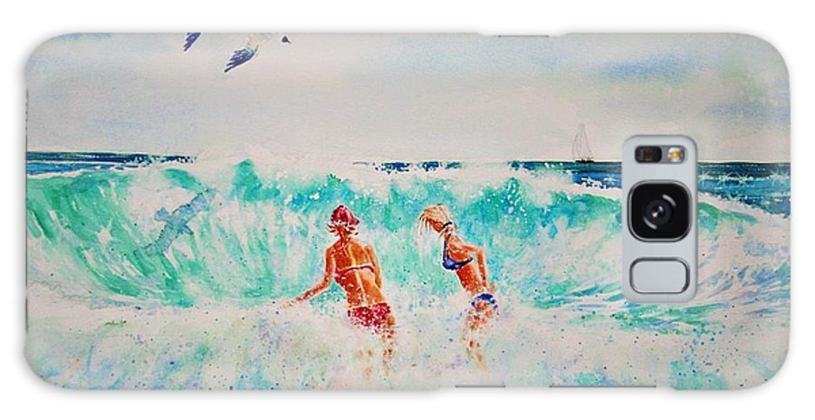 Surf Galaxy S8 Case featuring the painting Brooke And Carey In The Shore Break by Tom Harris