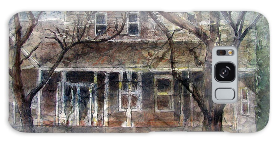 House Galaxy Case featuring the mixed media Brown Batik House by Arline Wagner