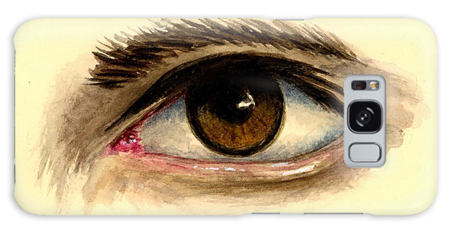 Eye Galaxy S8 Case featuring the painting Brown Eye by Michael Vigliotti
