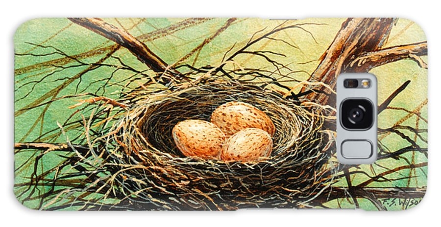 Wildlife Galaxy S8 Case featuring the painting Brown Speckled Eggs by Frank Wilson
