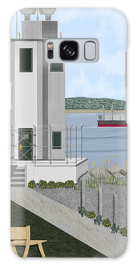 Lighthouse Galaxy Case featuring the painting Browns Point Lighthouse On Commencement Bay by Anne Norskog
