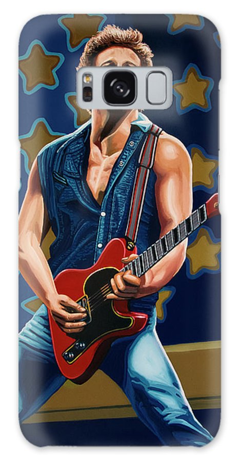 Bruce Springsteen Galaxy S8 Case featuring the painting Bruce Springsteen The Boss Painting by Paul Meijering