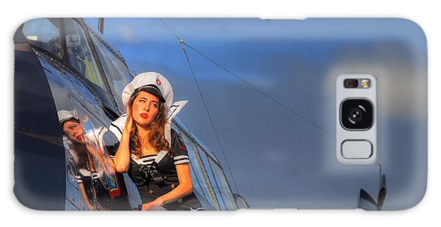 Navy Galaxy S8 Case featuring the photograph Brunette Navy Girl by Jimmy Ostgard