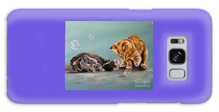 Cat Portrait. Cats In Pastels. Pastel Cat Painting. Cats Playing Galaxy S8 Case featuring the pastel Bubble Cats by Tony Calleja