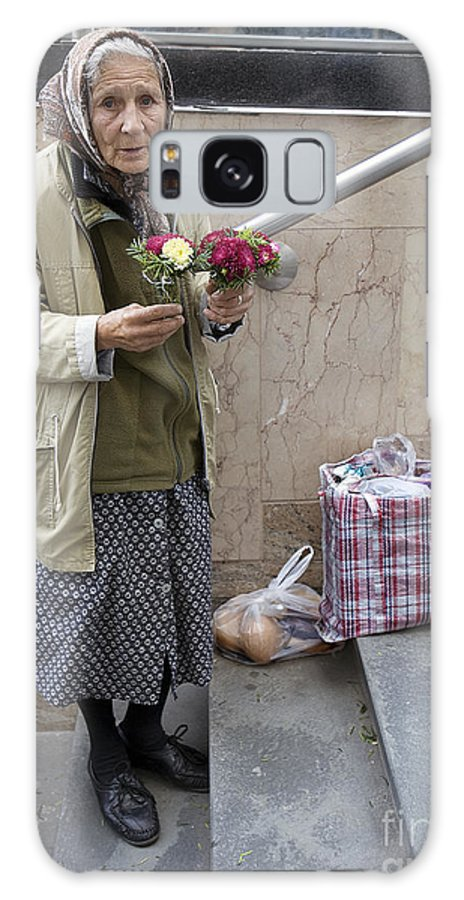 Budapest Galaxy S8 Case featuring the photograph Budapest Flower Woman by Madeline Ellis
