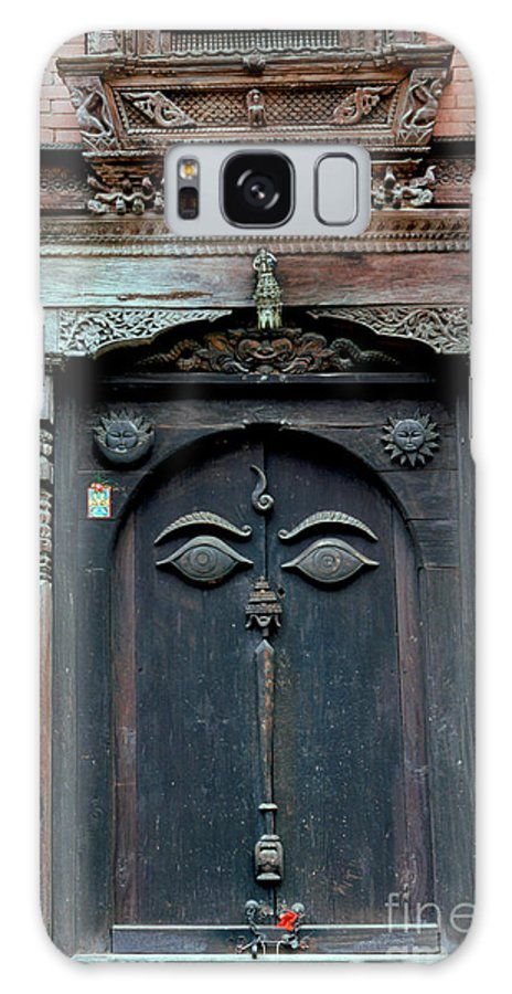 Nepal Galaxy Case featuring the photograph Buddha's Eyes On Nepalese Wooden Door by Anna Lisa Yoder