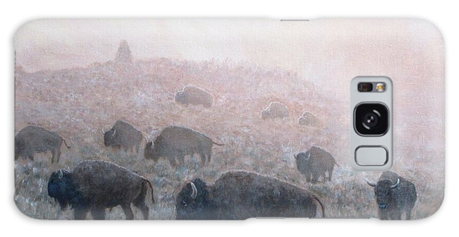 Western Art Galaxy Case featuring the painting Buffalo in Yellowstone Fog by Scott Robertson
