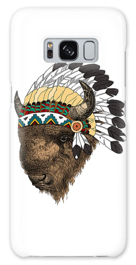 Buffalo Galaxy S8 Case featuring the digital art Buffalo With Indian Headdress In Color by Madame Memento