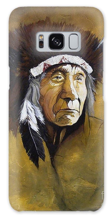 Shaman Galaxy S8 Case featuring the painting Buffalo Shaman by J W Baker