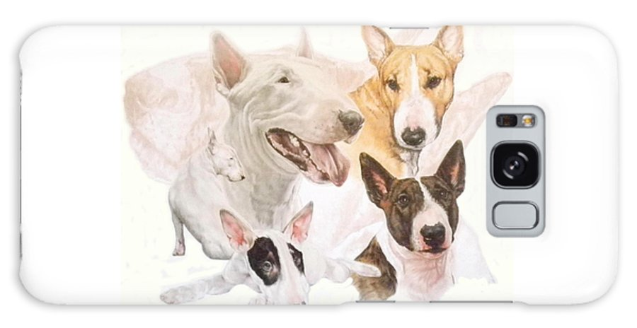 Purebred Galaxy S8 Case featuring the mixed media Bull Terrier W/ghost by Barbara Keith