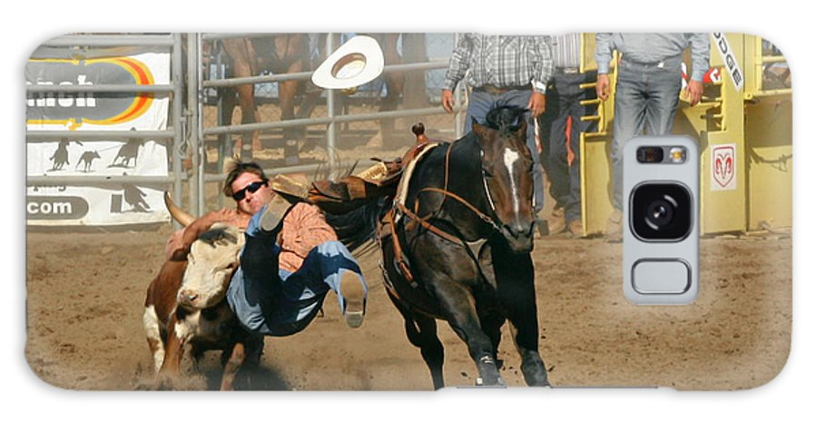Cowboy Galaxy S8 Case featuring the photograph Bulldogging At The Rodeo by Christine Till