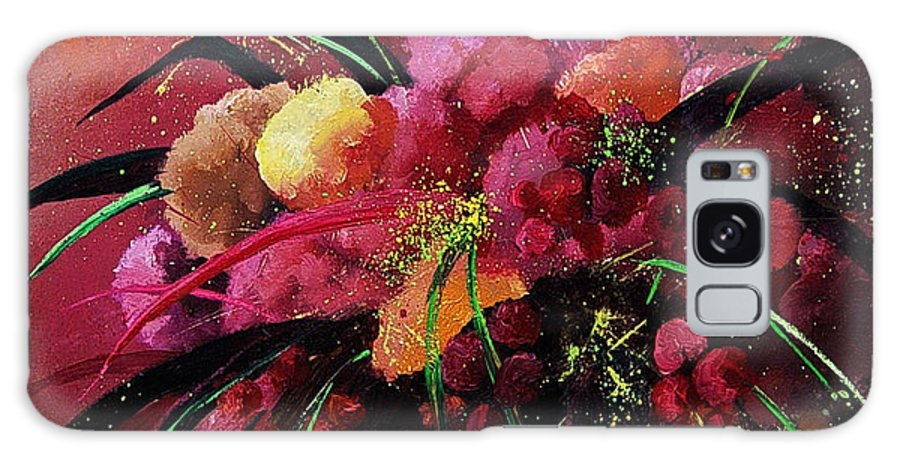 Flowers Galaxy Case featuring the painting Bunch Of Red Flowers by Pol Ledent
