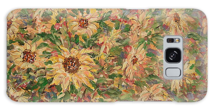 Flowers Galaxy Case featuring the painting Burst Of Sunflowers. by Leonard Holland